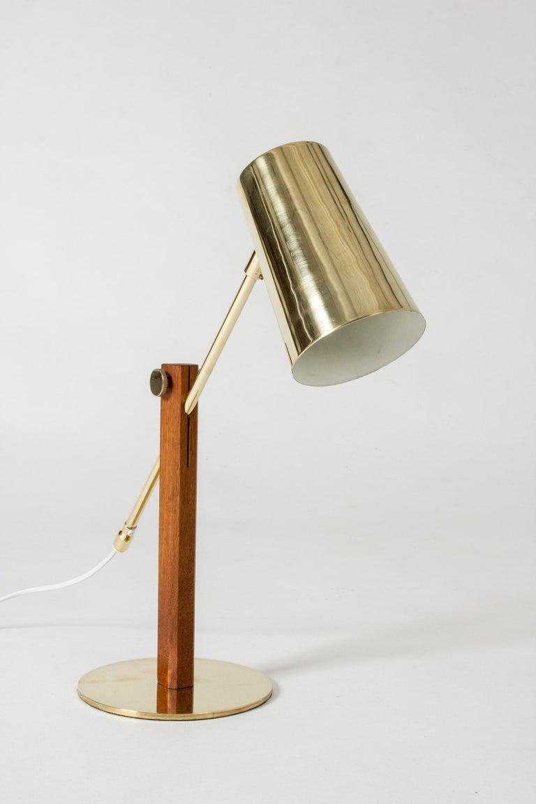 Scandinavian Modern Brass and Teak Table Lamp by Hans Bergström For Sale