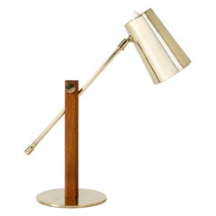 Brass and Teak Table Lamp by Hans Bergström