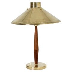 Brass and Teak Table Lamp by Hans Bergström