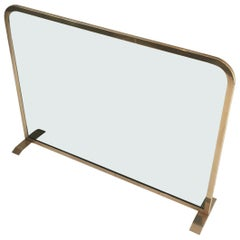 Brass and Tempered Glass Fire Place Screen, circa 1970