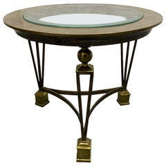 Brass and Tessellated Stone Side Table in the Manner of Gilbert Poillerat
