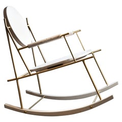 Brass and Travertino Nostalgia Rocking Chair by Saccal Design House
