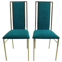 Brass and Velvet Dinning Chairs, Italy, 1970s