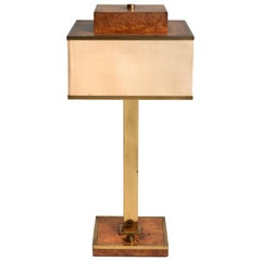 Brass and Veneer Modern Table Lamp, Italy, 20th Century