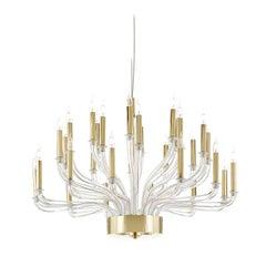 Brass and Venetian Glass Chandelier