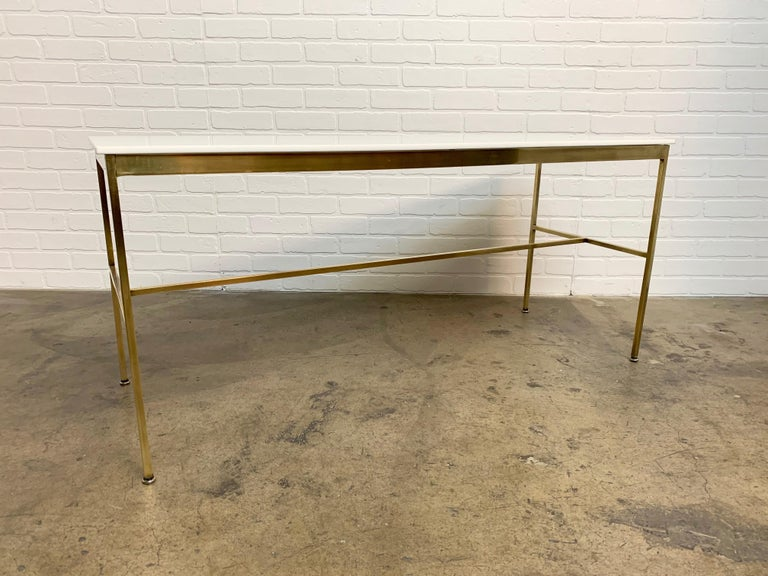 Brass and Vitrolite Console Table by Paul McCobb For Sale 7