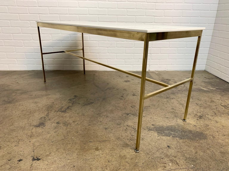 Mid-Century Modern Brass and Vitrolite Console Table by Paul McCobb For Sale