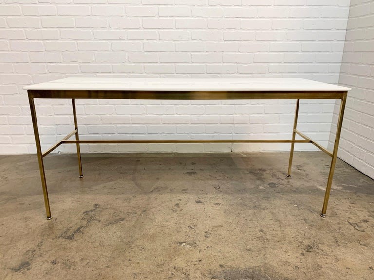 American Brass and Vitrolite Console Table by Paul McCobb For Sale