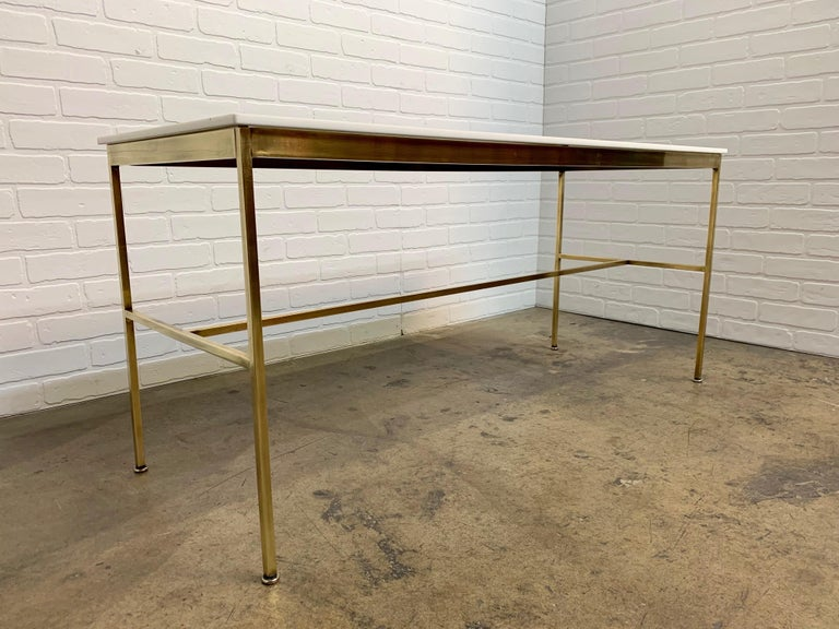 Brass and Vitrolite Console Table by Paul McCobb In Good Condition For Sale In Laguna Hills, CA