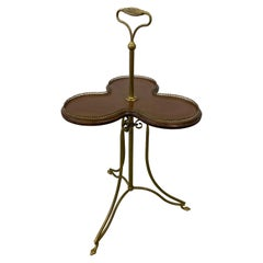 Brass and Walnut Lazy Susan Table