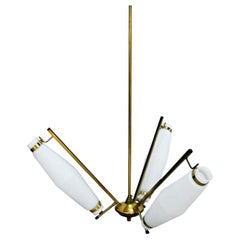 Brass and White Glass Italian Chandelier