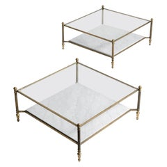 Brass and White Marble Coffee Table
