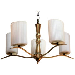 Brass and White Ribbed Glass Chandelier in the Style of Gio Ponti
