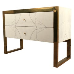 """Brass and White """"Statuario"""" Marble Chests of Drawers, 2010"""
