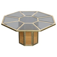 Brass and Wicker Octagonal Dining Table by Romeo Rega, Italy, circa 1970s