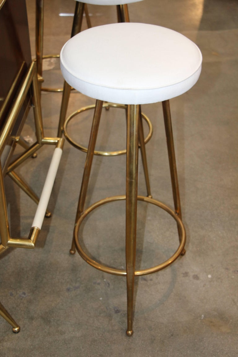 Mid-20th Century Brass and Wood Italian Midcentury Bar For Sale