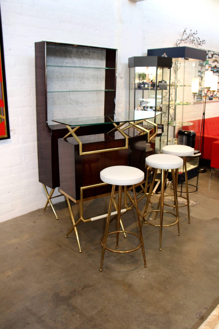 Brass and Wood Italian Midcentury Bar For Sale 2