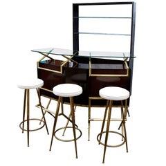 Brass and Wood Italian Midcentury Bar