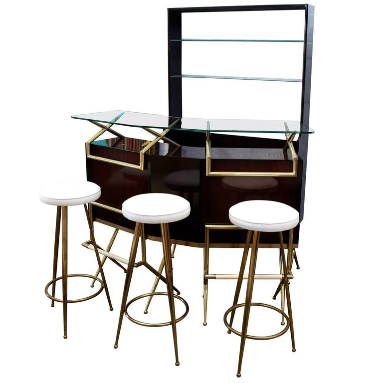 Brass and Wood Italian Midcentury Bar For Sale