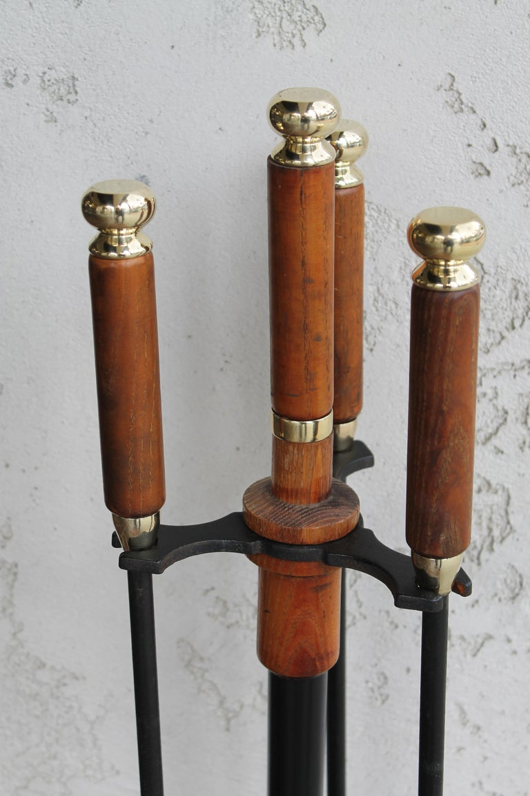 Mid-Century Modern Brass and Wood Midcentury Fireplace Firetools For Sale