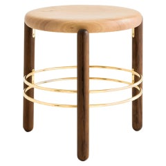 Brass and Wood Sculpted Stool, Leandro Garcia, Contemporary Brazil Design