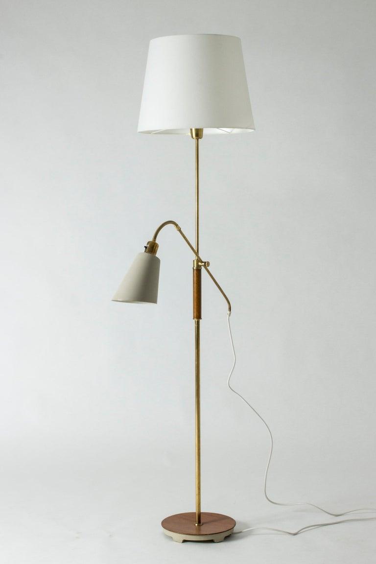 Scandinavian Modern Brass and Wood Swedish Floor Lamp by Bertil Brisborg for Nordiska Kompaniet For Sale