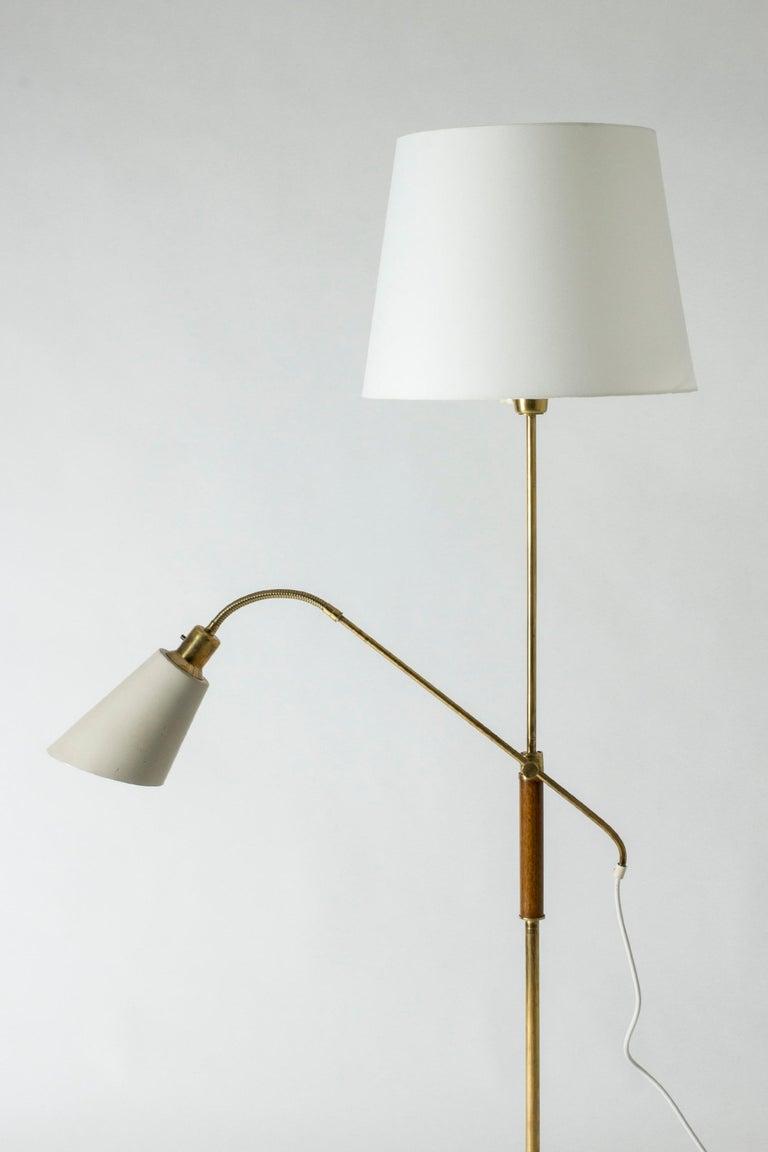 Mid-20th Century Brass and Wood Swedish Floor Lamp by Bertil Brisborg for Nordiska Kompaniet For Sale