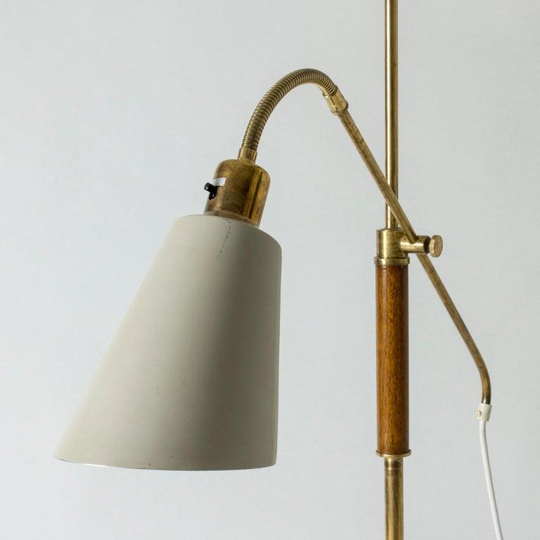 Brass and Wood Swedish Floor Lamp by Bertil Brisborg for Nordiska Kompaniet For Sale 1