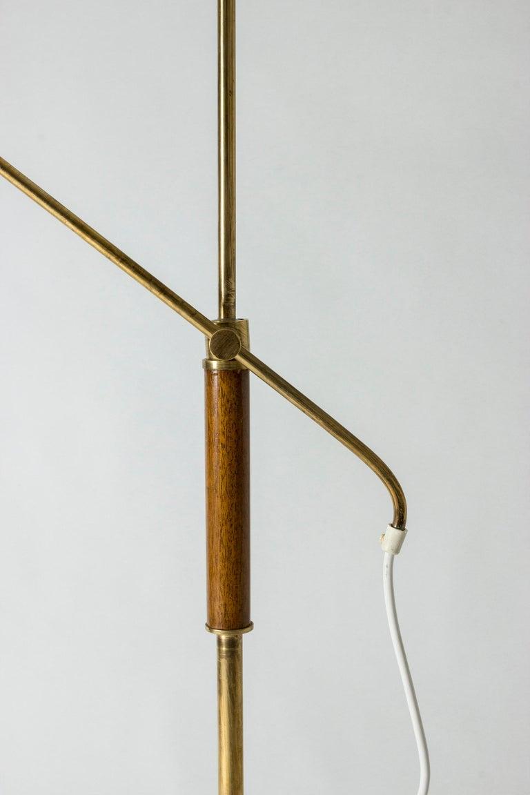 Brass and Wood Swedish Floor Lamp by Bertil Brisborg for Nordiska Kompaniet For Sale 3