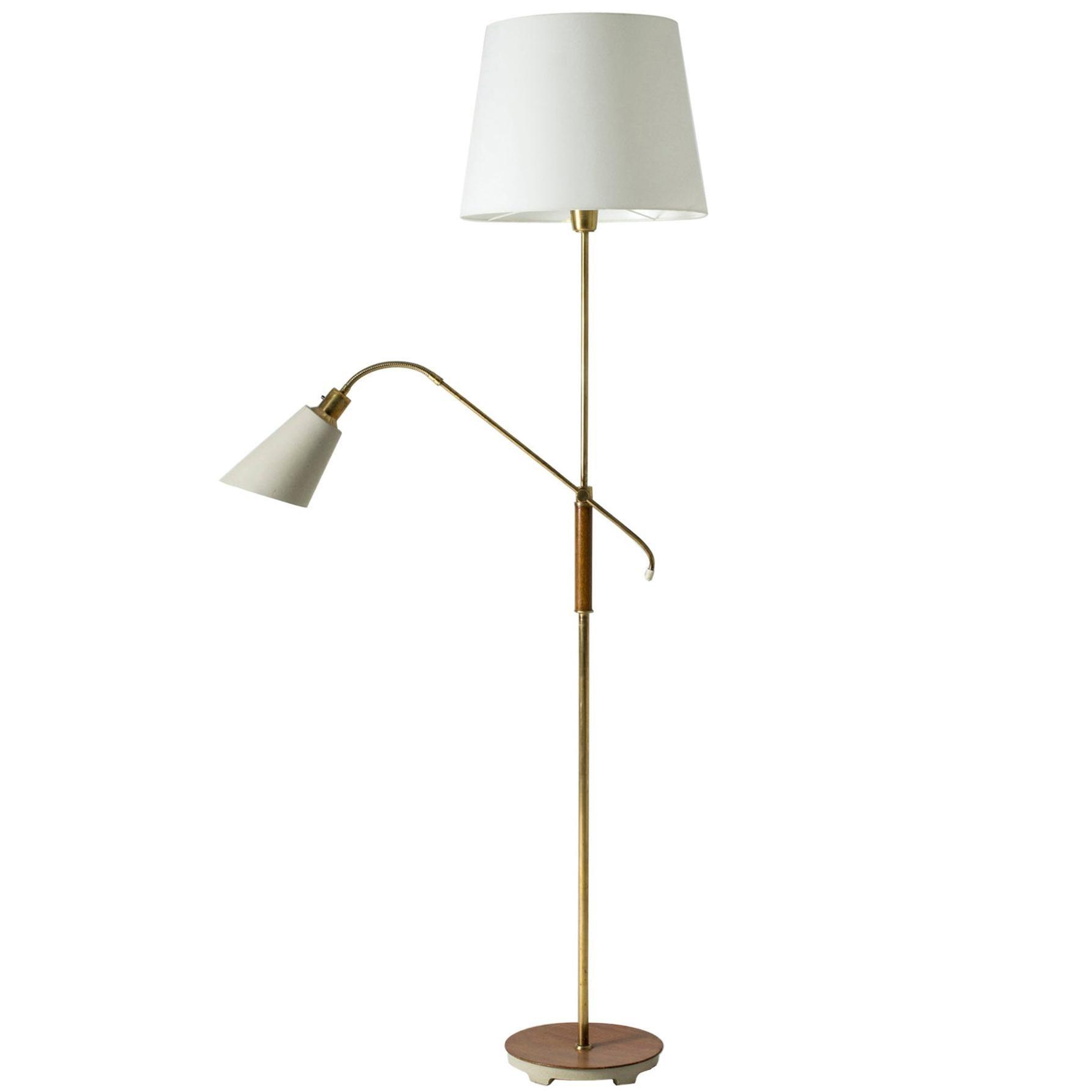 Brass and Wood Swedish Floor Lamp by Bertil Brisborg for Nordiska Kompaniet