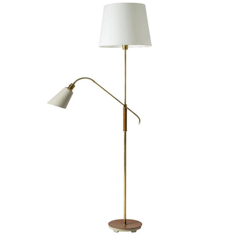 Brass and Wood Swedish Floor Lamp by Bertil Brisborg for Nordiska Kompaniet For Sale