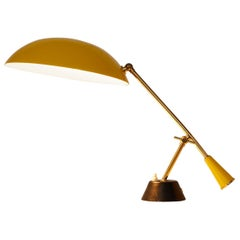 Brass and Yellow Lacquered Metal Table Lamp with Counterweight, Switzerland 1950