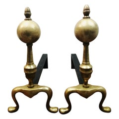 Brass Andirons  Queen Anne Style First Half of 20th Century