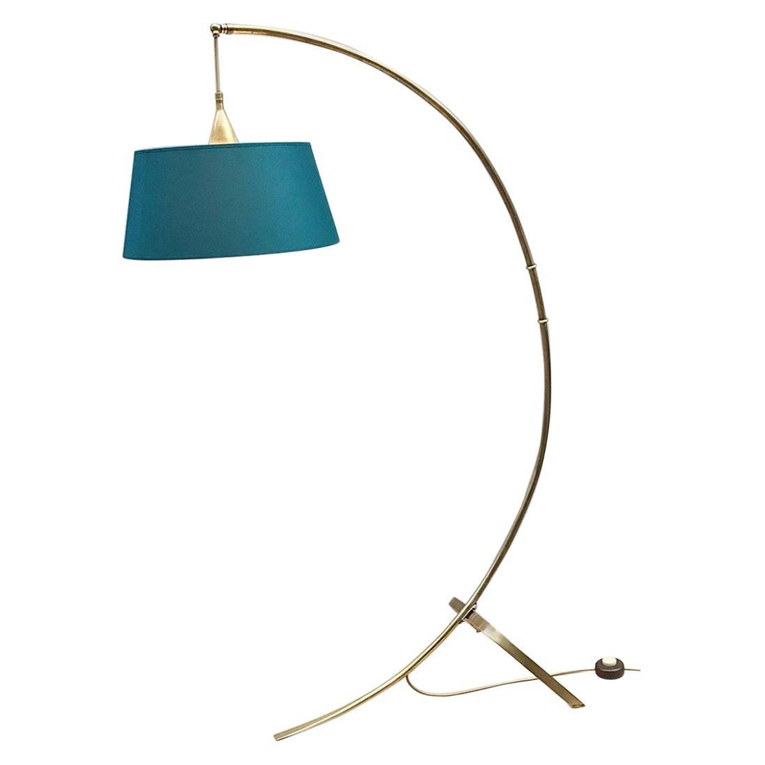 Brass Arc Floor Lamp by J. T. Kalmar for Kalmar, 1950s, New Lampshade