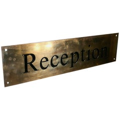 Brass Art Deco Hotel Reception Sign