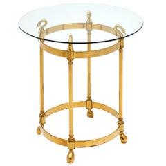 Brass Art Deco Period Swan Side Table