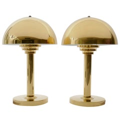 Brass Art Deco Style Mushroom Table Lamp, Germany, 1970s
