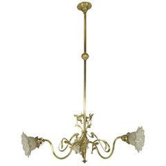 Brass Art Nouveau Chandelier, 1900s