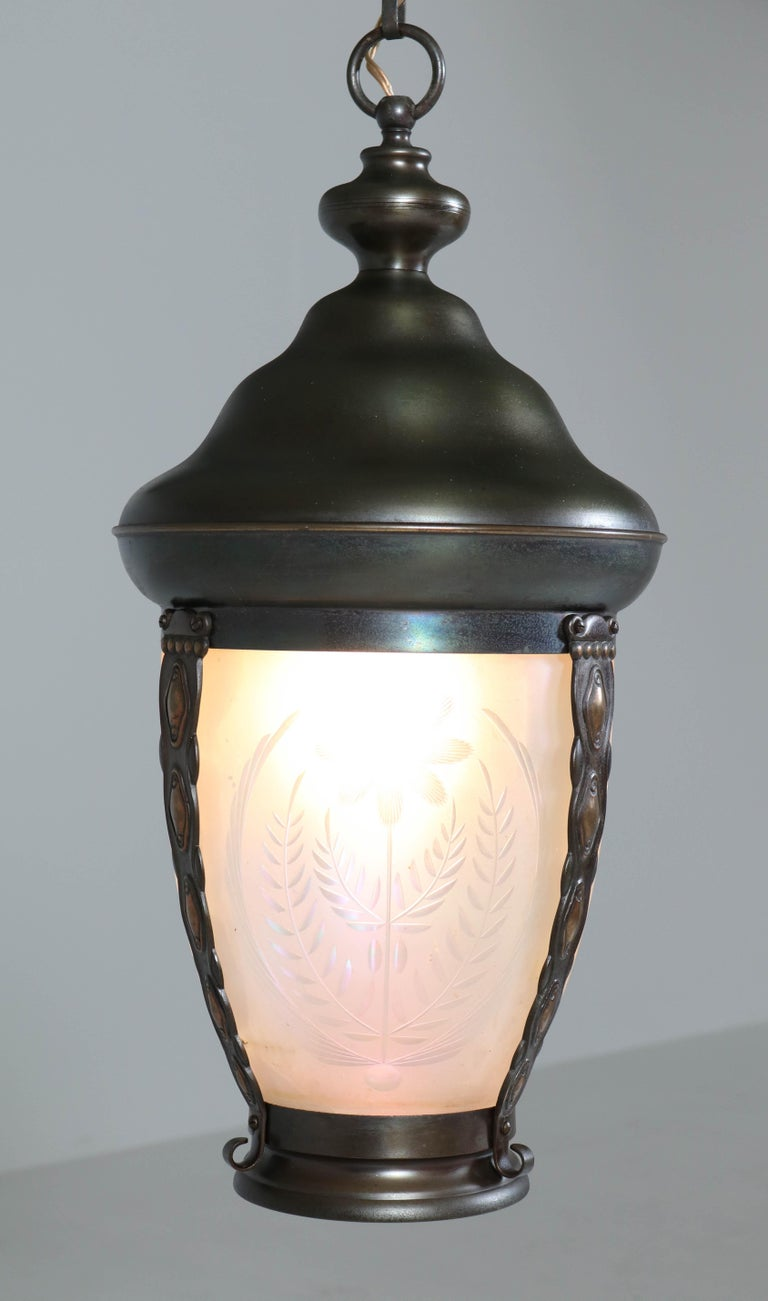 Brass Art Nouveau Lantern or Pendant Lamp with Petrol Glass Shade, 1900s For Sale 6