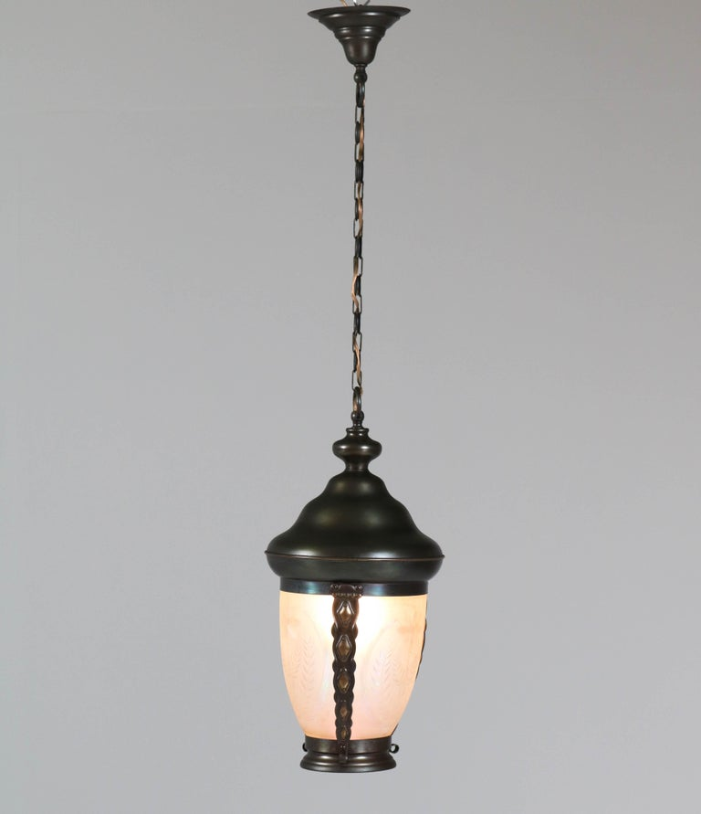 Dutch Brass Art Nouveau Lantern or Pendant Lamp with Petrol Glass Shade, 1900s For Sale