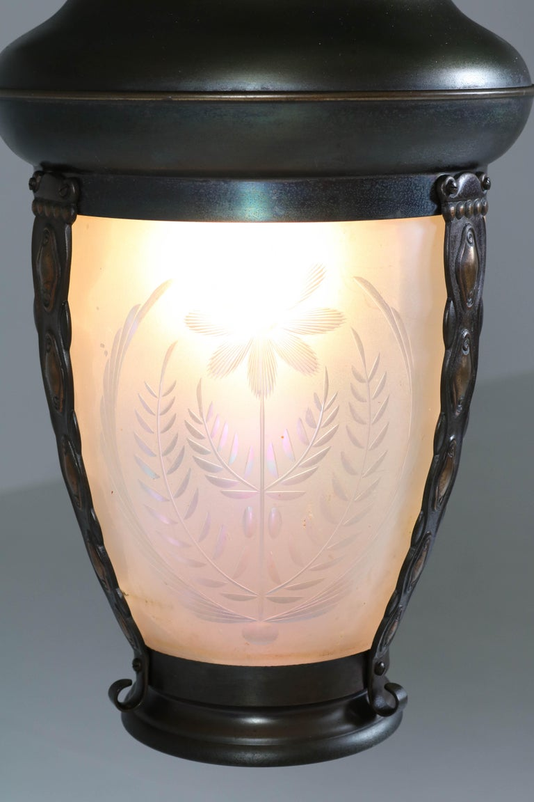Brass Art Nouveau Lantern or Pendant Lamp with Petrol Glass Shade, 1900s In Good Condition For Sale In Amsterdam, NL