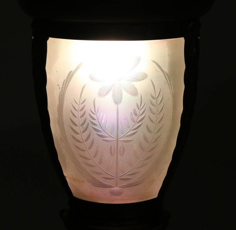 Early 20th Century Brass Art Nouveau Lantern or Pendant Lamp with Petrol Glass Shade, 1900s For Sale