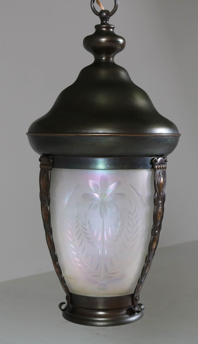 Brass Art Nouveau Lantern or Pendant Lamp with Petrol Glass Shade, 1900s For Sale 1