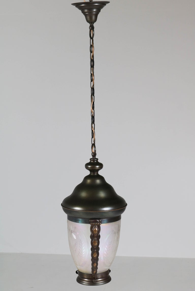 Brass Art Nouveau Lantern or Pendant Lamp with Petrol Glass Shade, 1900s For Sale 2