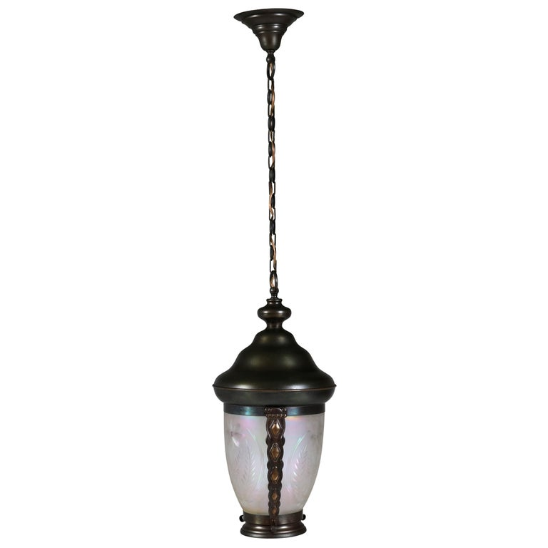 Brass Art Nouveau Lantern or Pendant Lamp with Petrol Glass Shade, 1900s For Sale