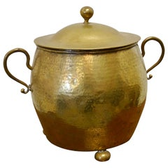 Brass Arts & Crafts Coal Bucket with Lid
