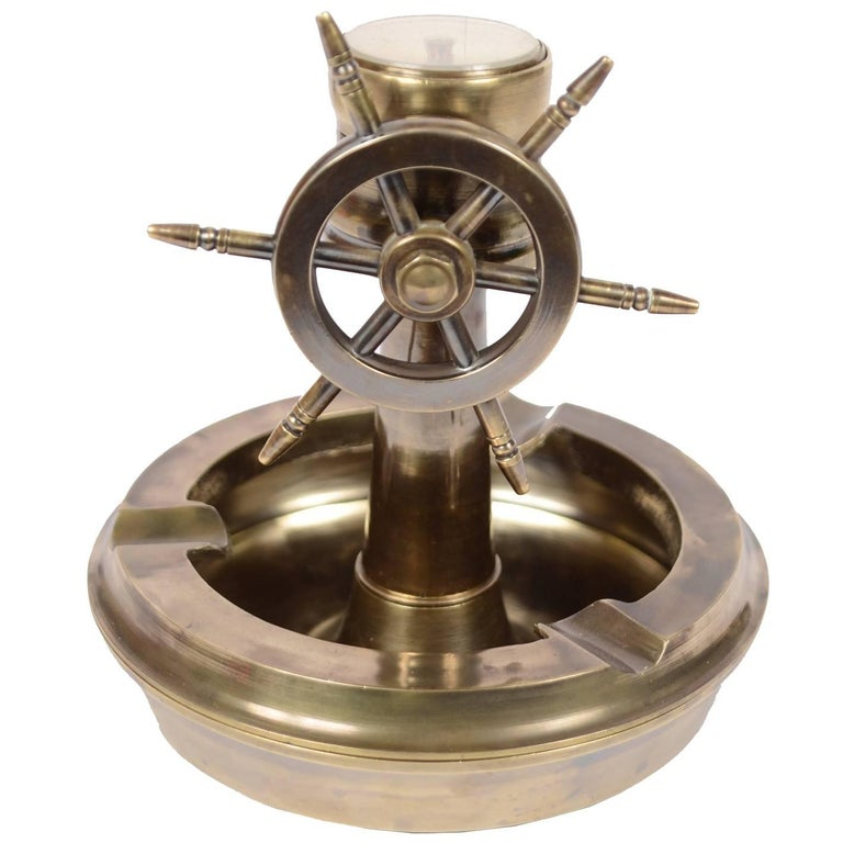 Brass Ashtray with Rudder and Compass, 1950s