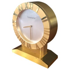 """Brass """"Atlas"""" Desktop Clock on Stand by Tiffany & Co."""