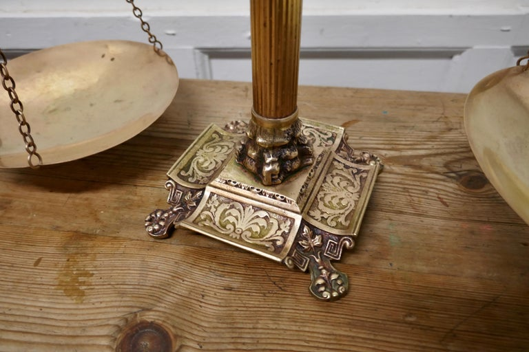 Industrial Brass Balance Shop Scales with Eagle Crest For Sale