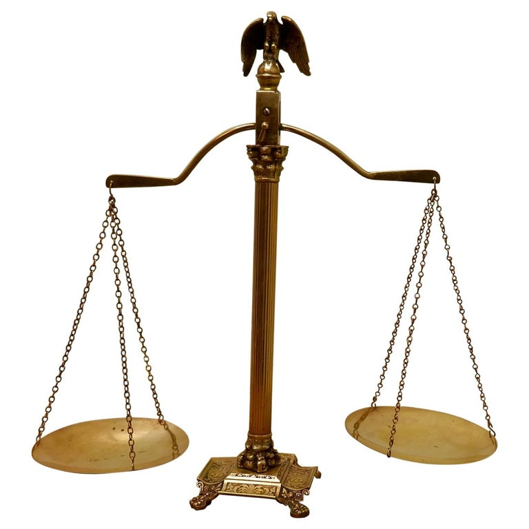 Brass Balance Shop Scales with Eagle Crest For Sale